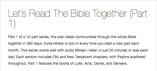Let's Read the Bible Together Reading Plan